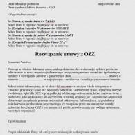 Wzór rozwiąznia umowy z OZZ